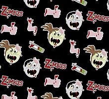 Zombie Cartoon Design - Black Background by JessDesigns
