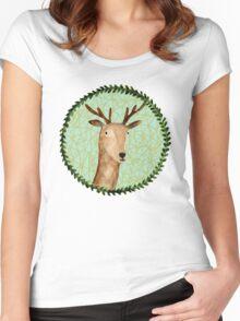 Deer Portrait Women's Fitted Scoop T-Shirt