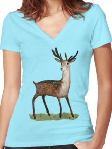 Deer in the Woods Women's Fitted V-Neck T-Shirt