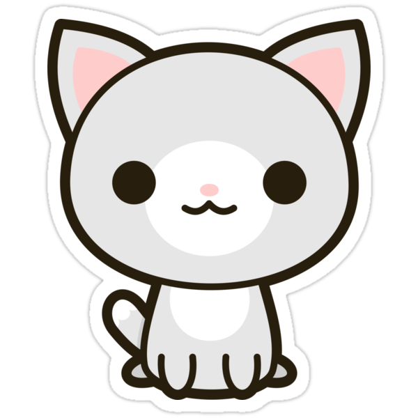 Quot Kawaii Grey And White Cat Quot Stickers By Peppermintpopuk
