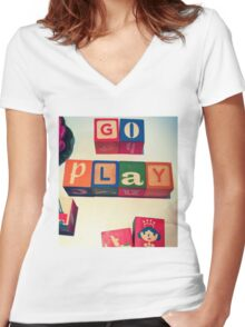 Go Play Women's Fitted V-Neck T-Shirt