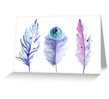 Three blue feathers Greeting Card