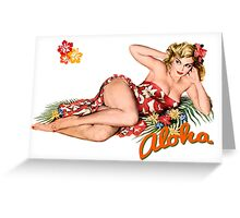 Aloha Island Blonde Pinup Girl Greeting Card