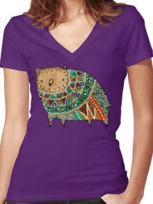Aztec Bear Women's Fitted V-Neck T-Shirt