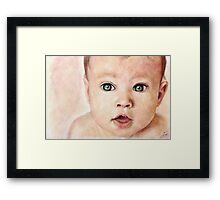 Watercolour Baby portrait painting Framed Print