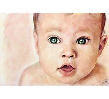 Watercolour Baby portrait painting Photographic Print