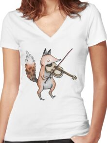 Violin Fox Women's Fitted V-Neck T-Shirt
