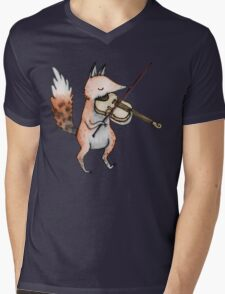 Violin Fox Mens V-Neck T-Shirt
