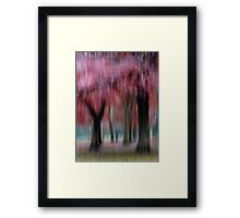 Group of Trees in Motion - red Framed Print