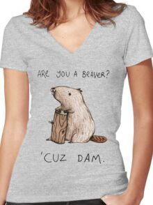 Dam Women's Fitted V-Neck T-Shirt