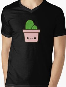 Cactus in cute pot Mens V-Neck T-Shirt