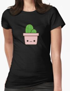 Cactus in cute pot Womens Fitted T-Shirt
