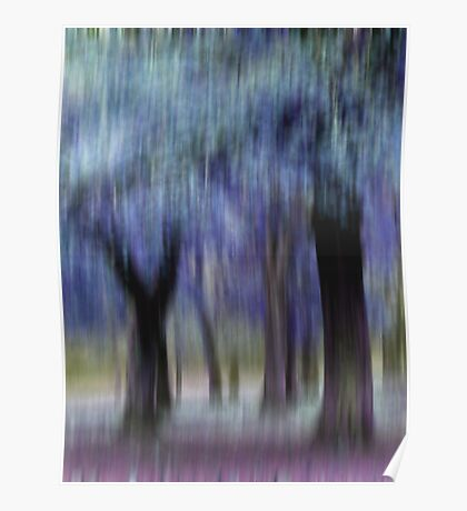 Group of Trees in Motion - blue Poster