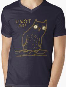 Confused Owl Mens V-Neck T-Shirt