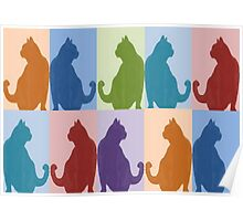 Silhouette Cat Collage Pattern New Media Art Poster