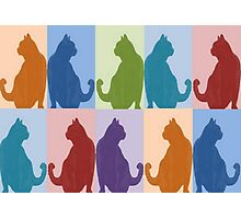 Silhouette Cat Collage Pattern New Media Art Photographic Print