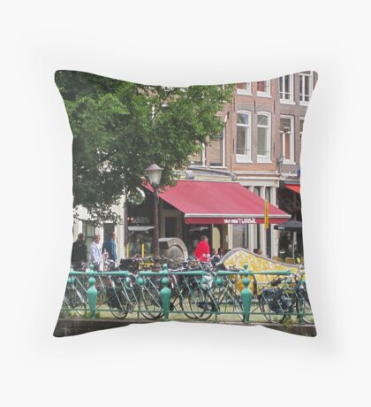 Amsterdam - Bikes and Cafes Throw Pillow