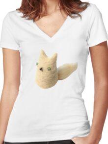 Fluffy Love Cat Women's Fitted V-Neck T-Shirt