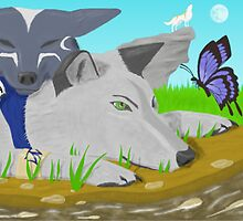 Wolves In friendly contentment by tikaaniwicker