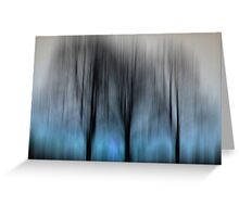 Three Trees in Motion - blue Greeting Card