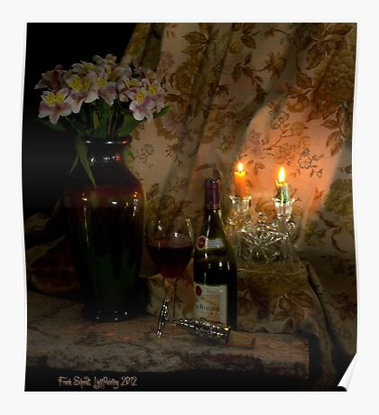 Rhone Wine and 2 Candles Poster