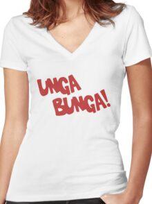 CAVEMAN Unga Bunga! Women's Fitted V-Neck T-Shirt