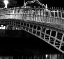 Ha'Penny Bridge At Night (mono) Sticker