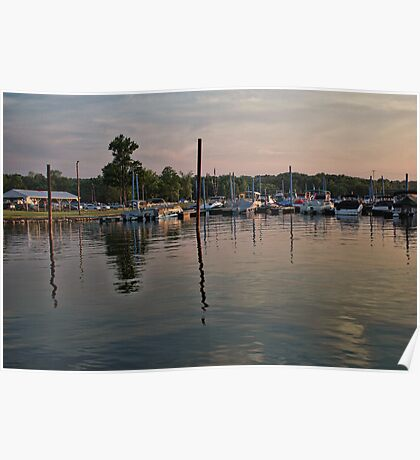 Sunset at RC's Marina Poster