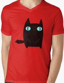 Fat Black Cat Mens V-Neck T-Shirt