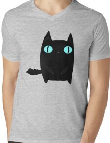 Fat Black Cat Mens V-Neck T-Shirt