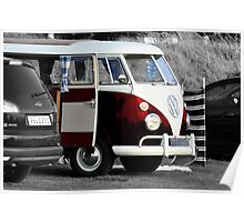 Bright Red VW Split Screen Camper Van Poster
