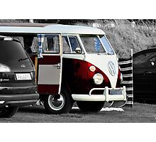 Bright Red VW Split Screen Camper Van Photographic Print
