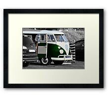 Bright Green Split Screen VW Camper Van Framed Print
