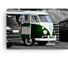 Bright Green Split Screen VW Camper Van Canvas Print