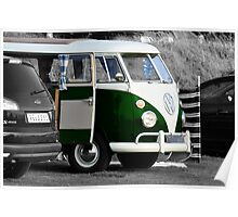 Bright Green Split Screen VW Camper Van Poster