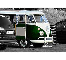 Bright Green Split Screen VW Camper Van Photographic Print