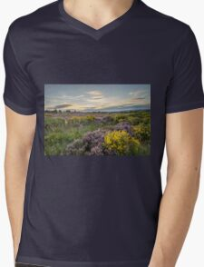 Heather in flower at sunset  Mens V-Neck T-Shirt