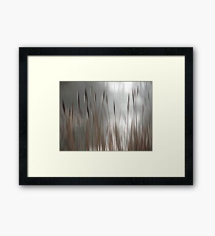Reeds Abstract - brown Framed Print