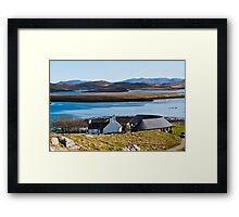 Landscape, Callanish standing stones visitor centre and Loch Ceann Huabhig Framed Print