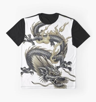 Lucky Chinese Dragon In Grey and Gold by taiche