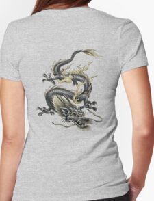 Lucky Chinese Dragon In Grey and Gold Womens Fitted T-Shirt