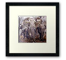 Elephants in the wild by Db Artstudio Framed Print