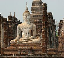 Buddha At Sukhothai Thailand by Bob Christopher