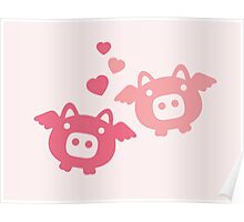 Flying Pigs in Love Poster