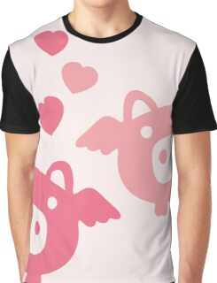 Flying Pigs in Love Graphic T-Shirt