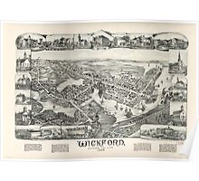 Panoramic Maps Wickford Rhode Island 1888 Poster