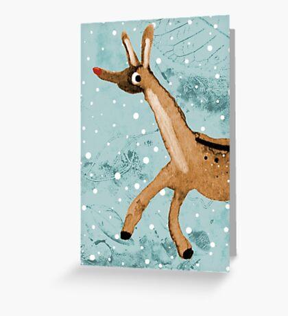 Frolicking Rudolph Greeting Card