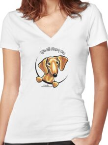Smooth Red Dachshund :: It's All About Me Women's Fitted V-Neck T-Shirt