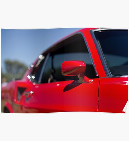 Red Mustang mirror Poster