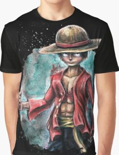 The King of Pirates a Tra-Digital Portrait of Luffy Graphic T-Shirt